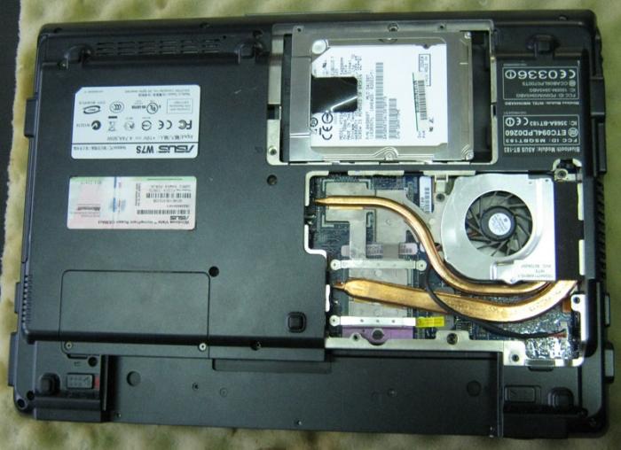 Винчестер, привод и система охлаждения ноутбука