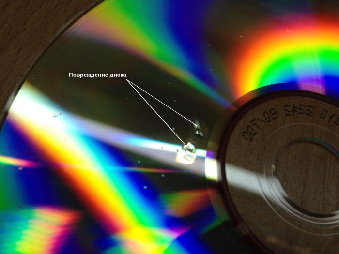 Повреждение на поверхности оптического диска