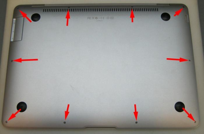 винты крепления задней крышки MacBook Air