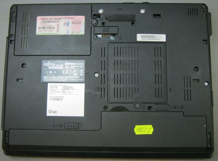 нижняя часть ноутбука Fujitsu-Siemens U9200